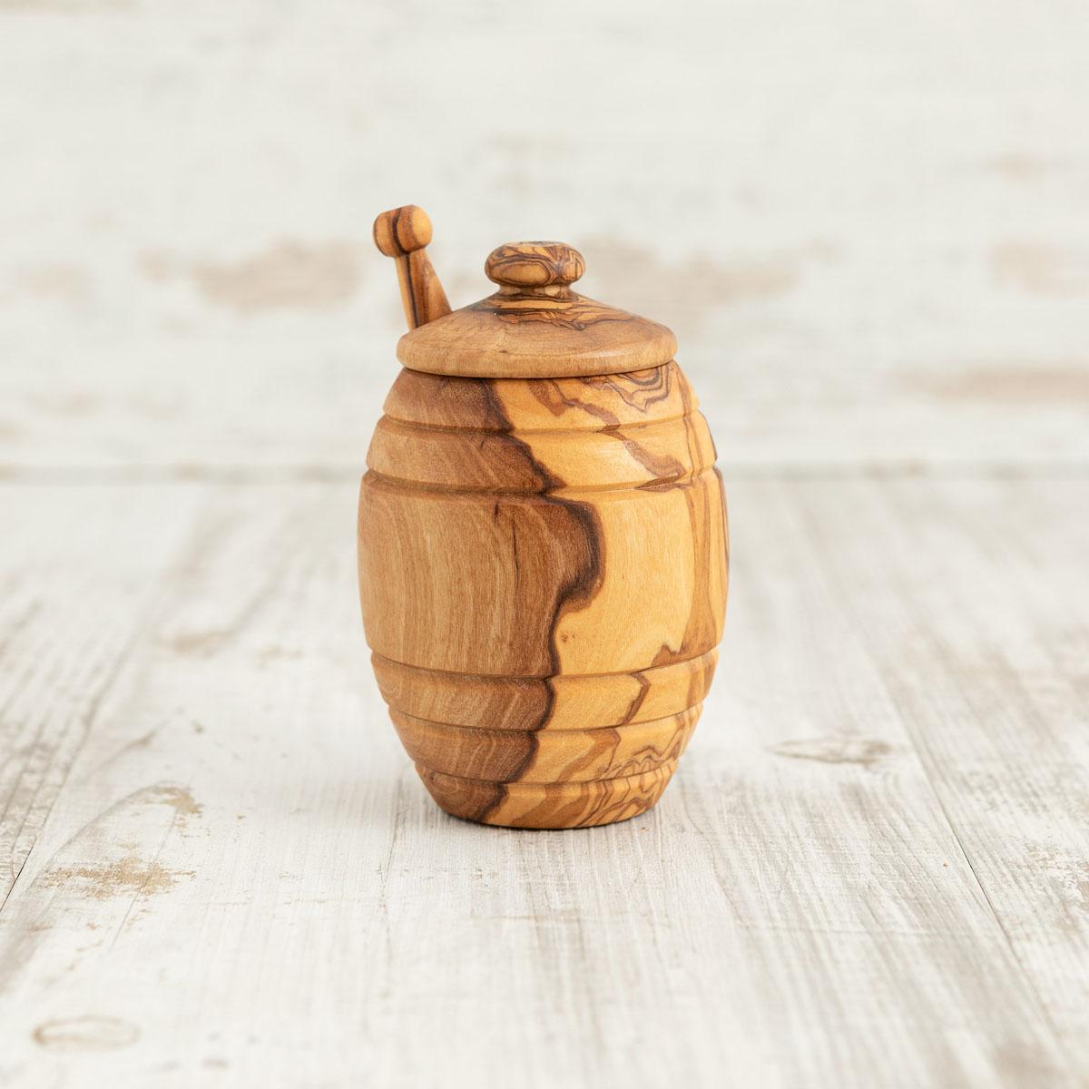 Barattolo miele + smielatore in legno di ulivo - Arte Legno