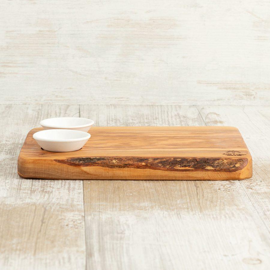 Tagliere + 2 ciotoline in ceramica - Arte Legno