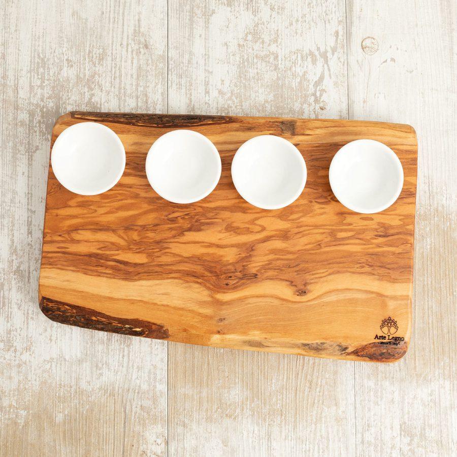 Tagliere + 4 ciotoline in ceramica - Arte Legno