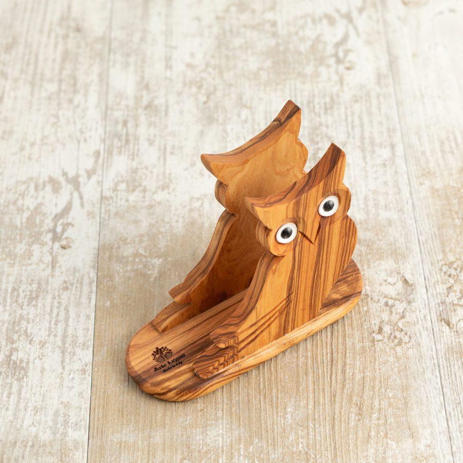 Porta tovaglioli Gufo cm 14x6x11 in legno di ulivo - Arte Legno