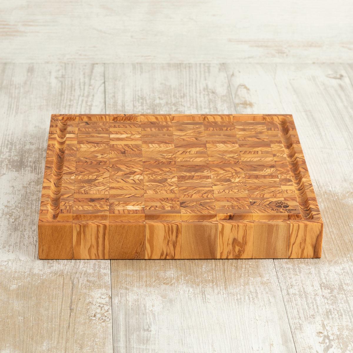 Tagliere listellare – Misure cm 32×30×4,2 in legno di ulivo - Arte Legno