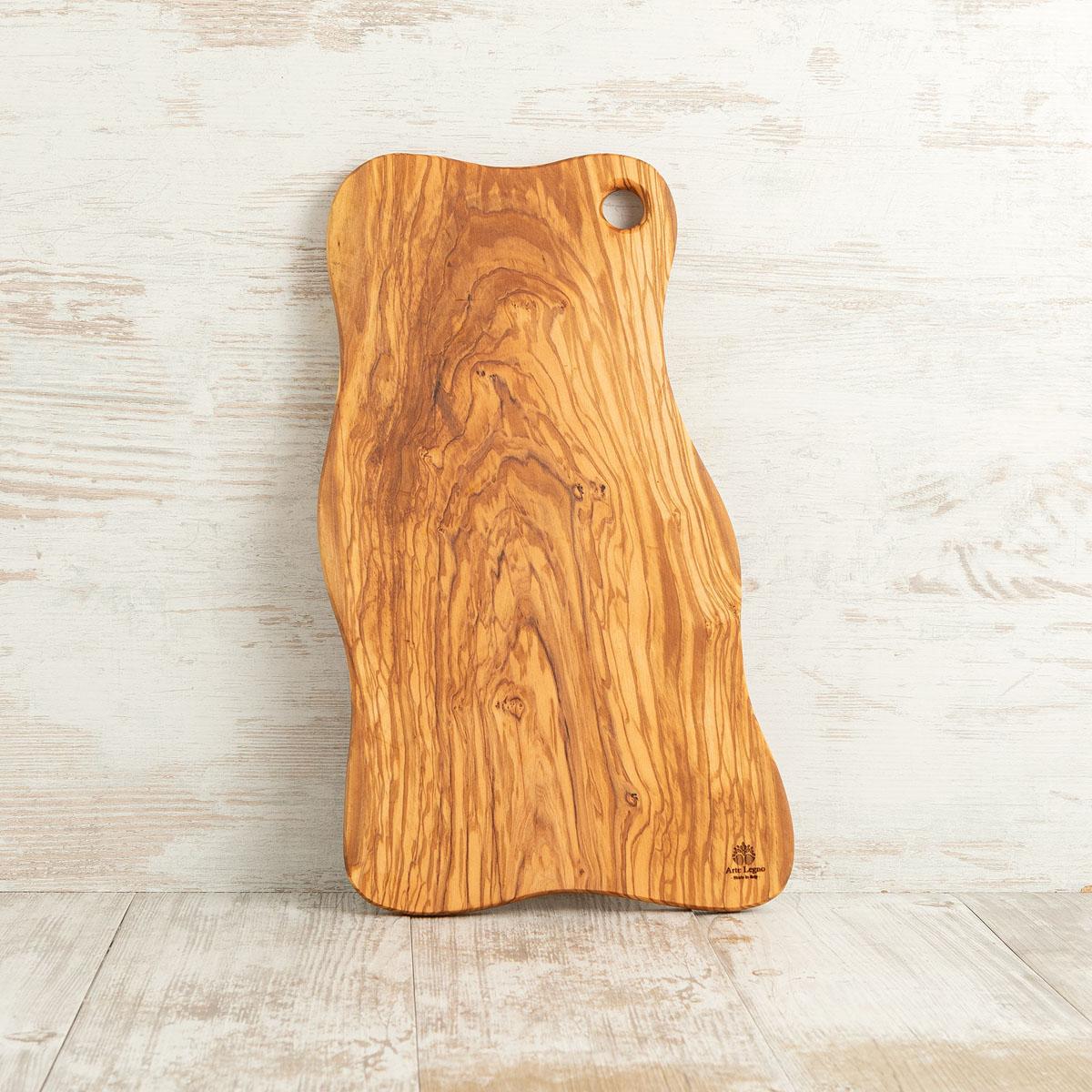 Tagliere onda 50×26×1,8 in legno di ulivo - Arte Legno