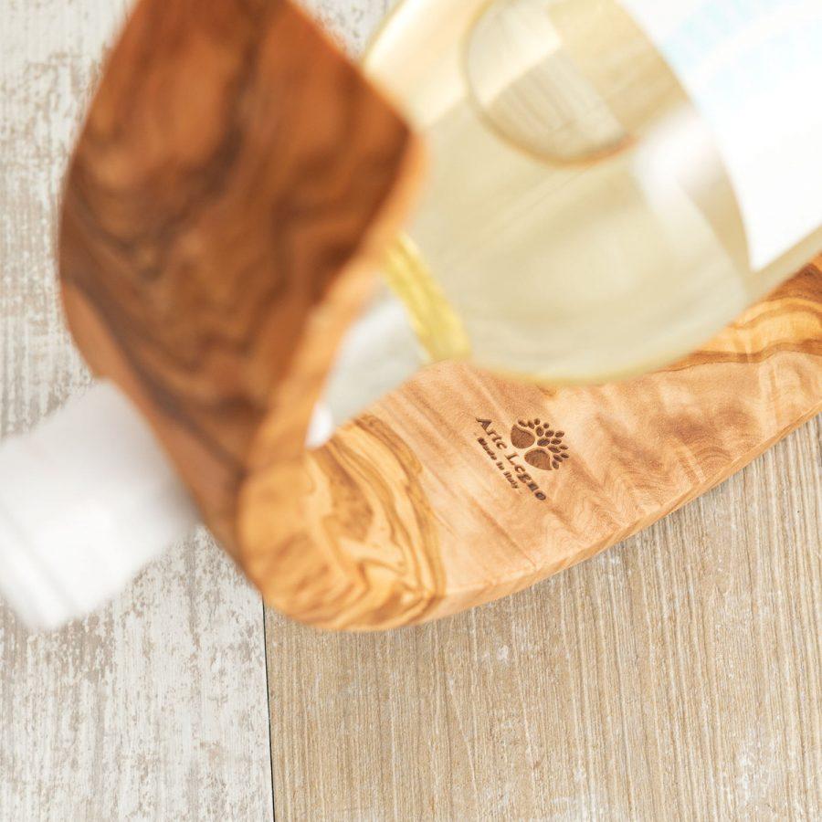 Porta bottiglia curvo in legno di ulivo | Arte Legno