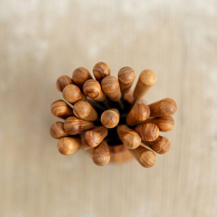 Botte + 24 forchettine in legno di ulivo | Arte Legno