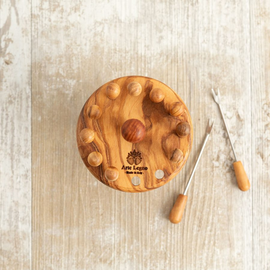 Girandola + 12 forchettine in legno di ulivo | Arte Legno