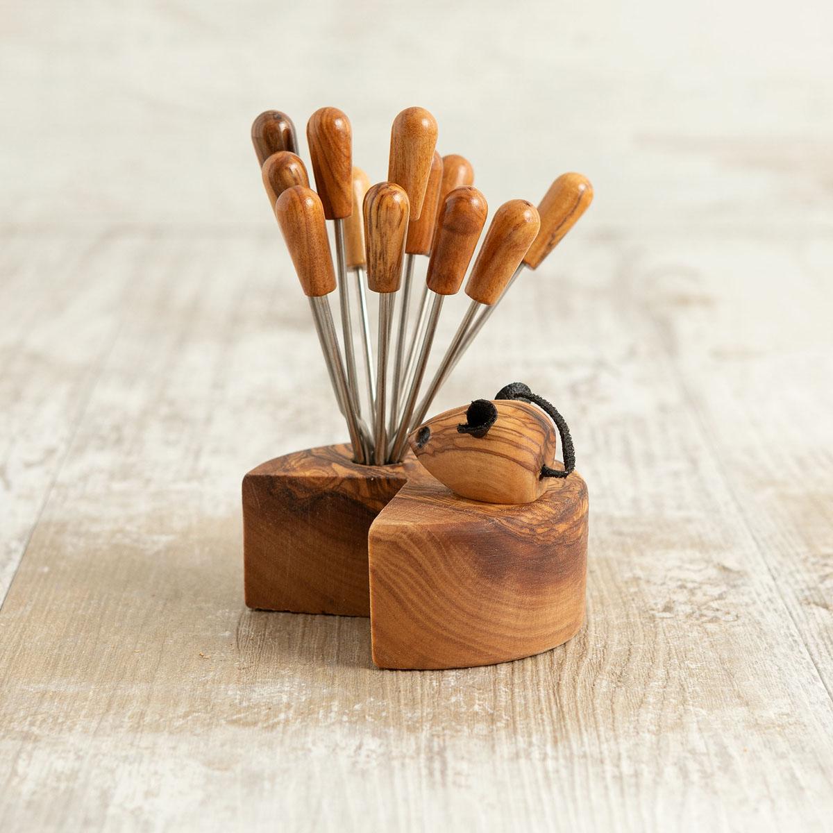 Topo porta forchettine in legno di ulivo | Arte Legno