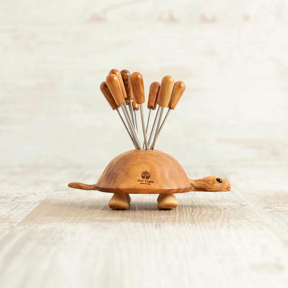 Tartaruga in legno di ulivo porta forchettine | Arte Legno