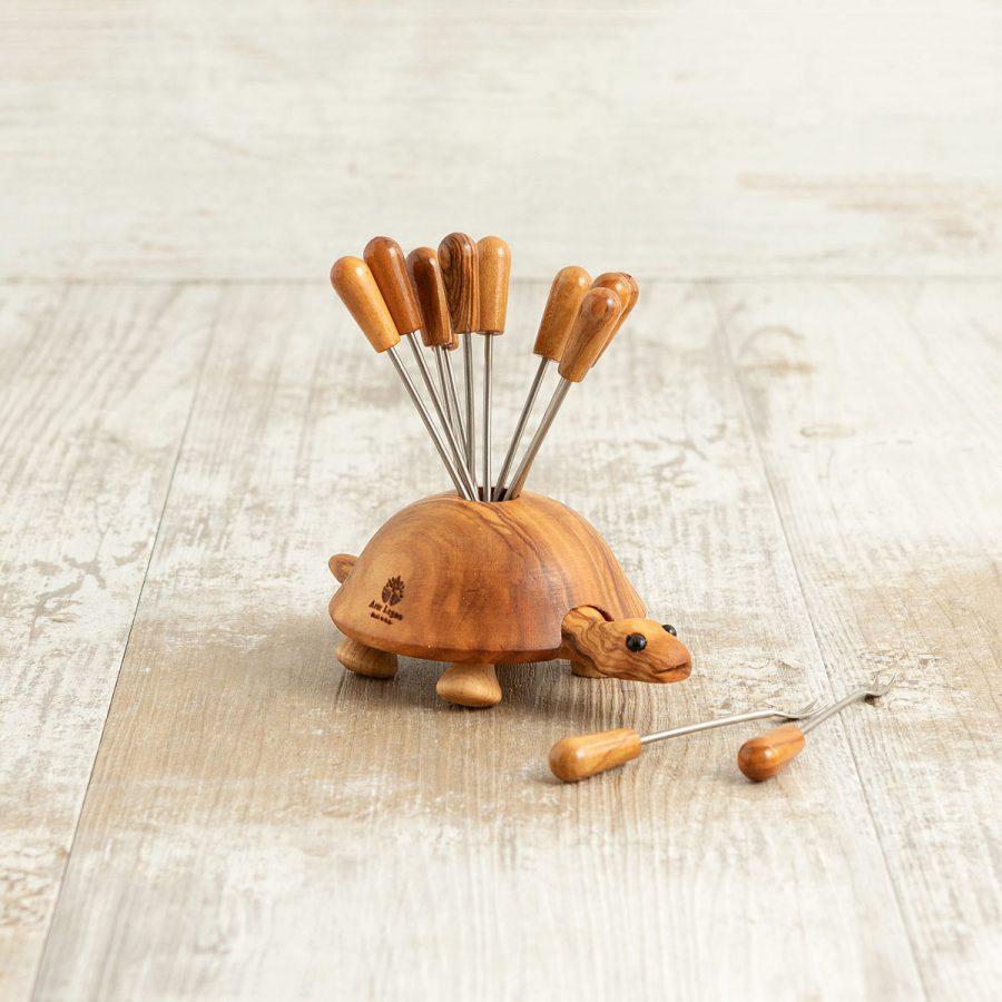 Tartaruga in legno di ulivo porta forchettine   Arte Legno