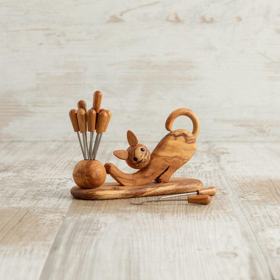 Gatto porta forchettine in legno di ulivo | Arte Legno