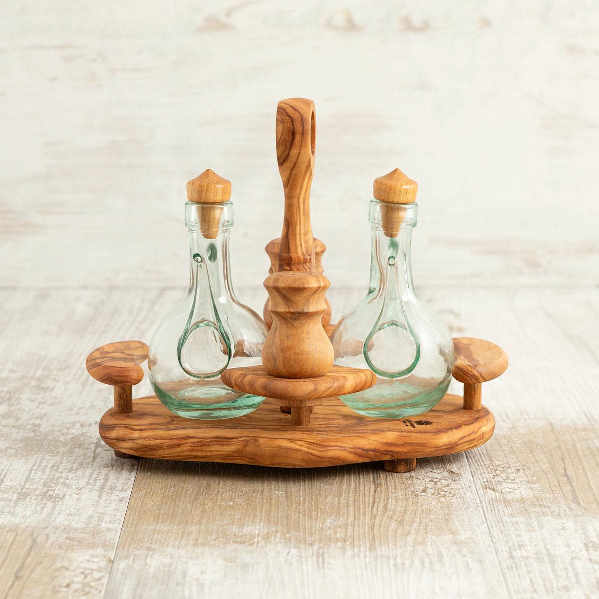 Porta olio sale e pepe in legno di ulivo | Arte Legno