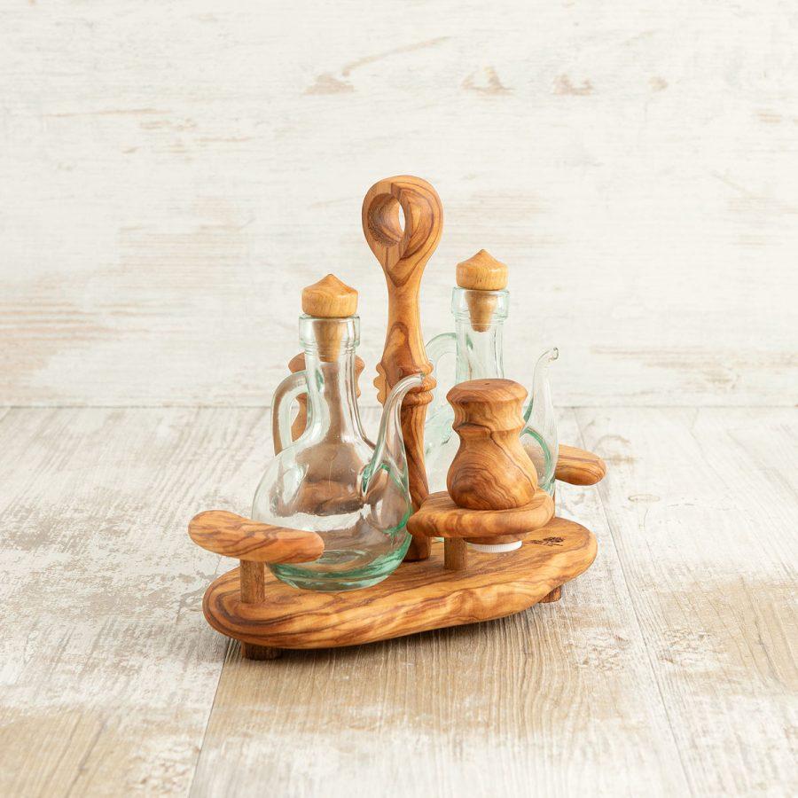 Porta olio sale e pepe in legno di ulivo   Arte Legno