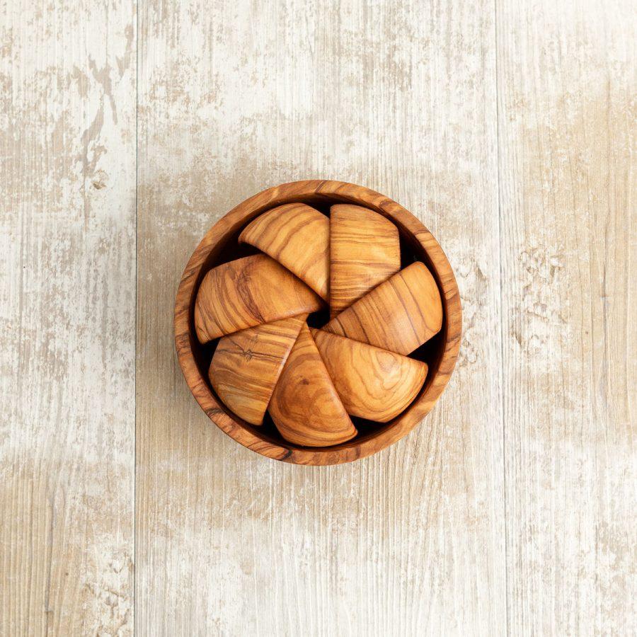 Set pinzimonio fatto a mano in legno di ulivo con 7 ciotoline   Arte Legno