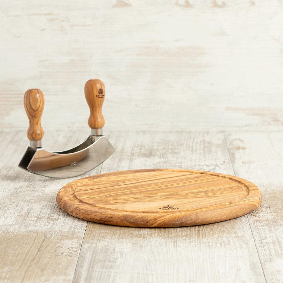 Tagliere in legno di ulivo con mezza luna | Arte Legno