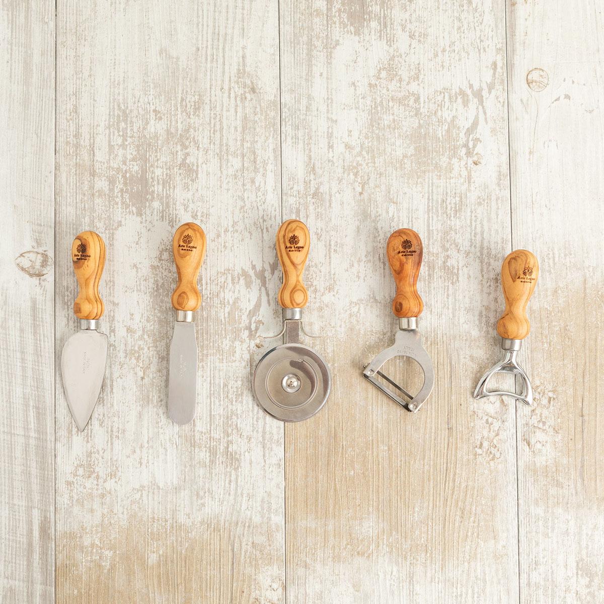 Set 5 utensili da cucina in legno di ulivo | Arte Legno