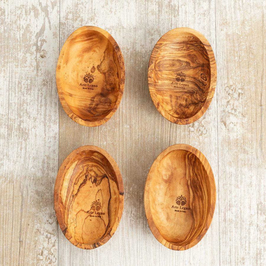 4 ciotoline ovali in legno di ulivo | Arte Legno