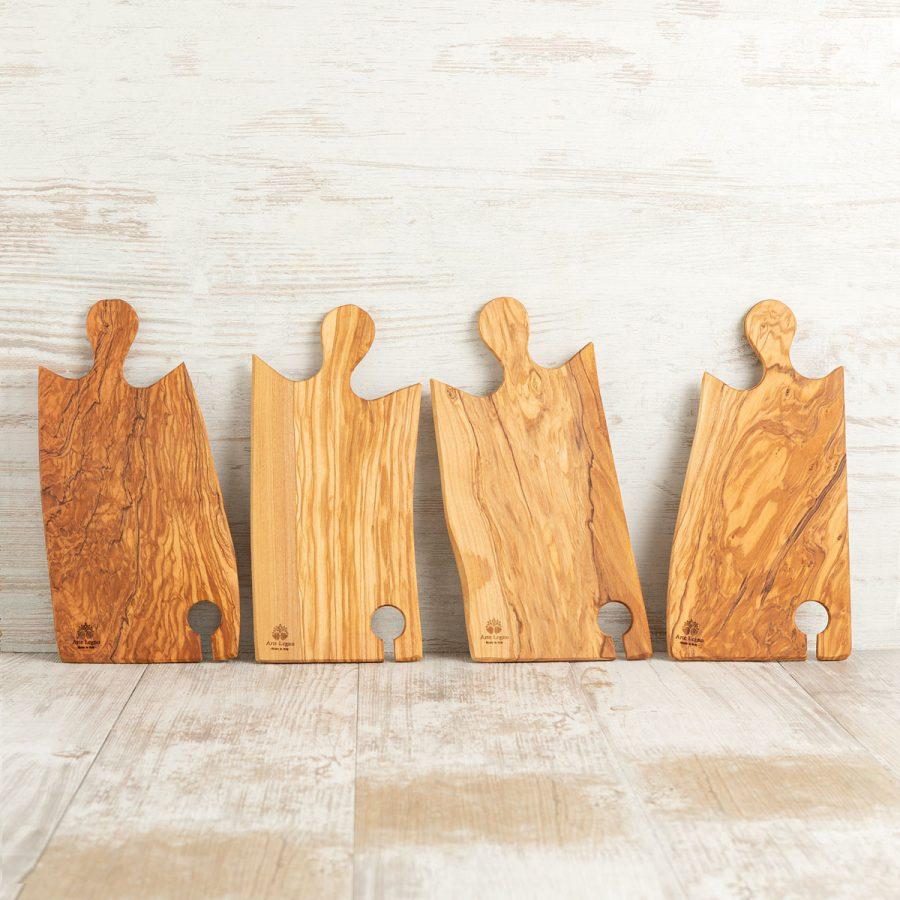 Set 4 taglieri in legno di ulivo per aperitivo   Arte Legno