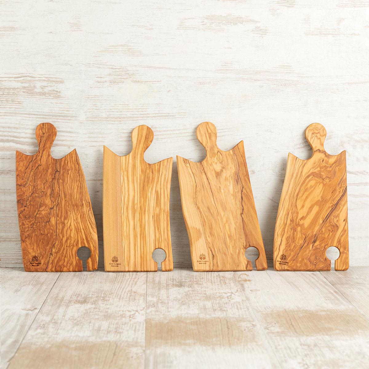 Set 4 taglieri in legno di ulivo per aperitivo | Arte Legno
