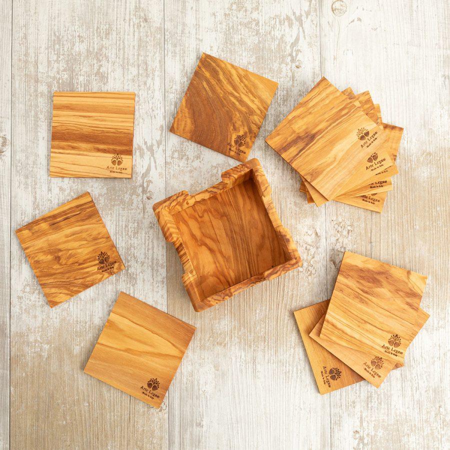 Set 12 sottobichieri in legno di ulivo   Arte Legno