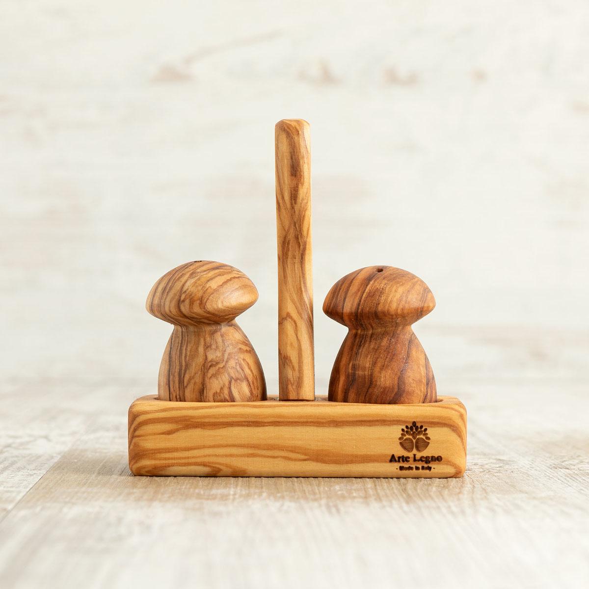 Porta sale e pepe a funghetto in legno di ulivo | Arte Legno