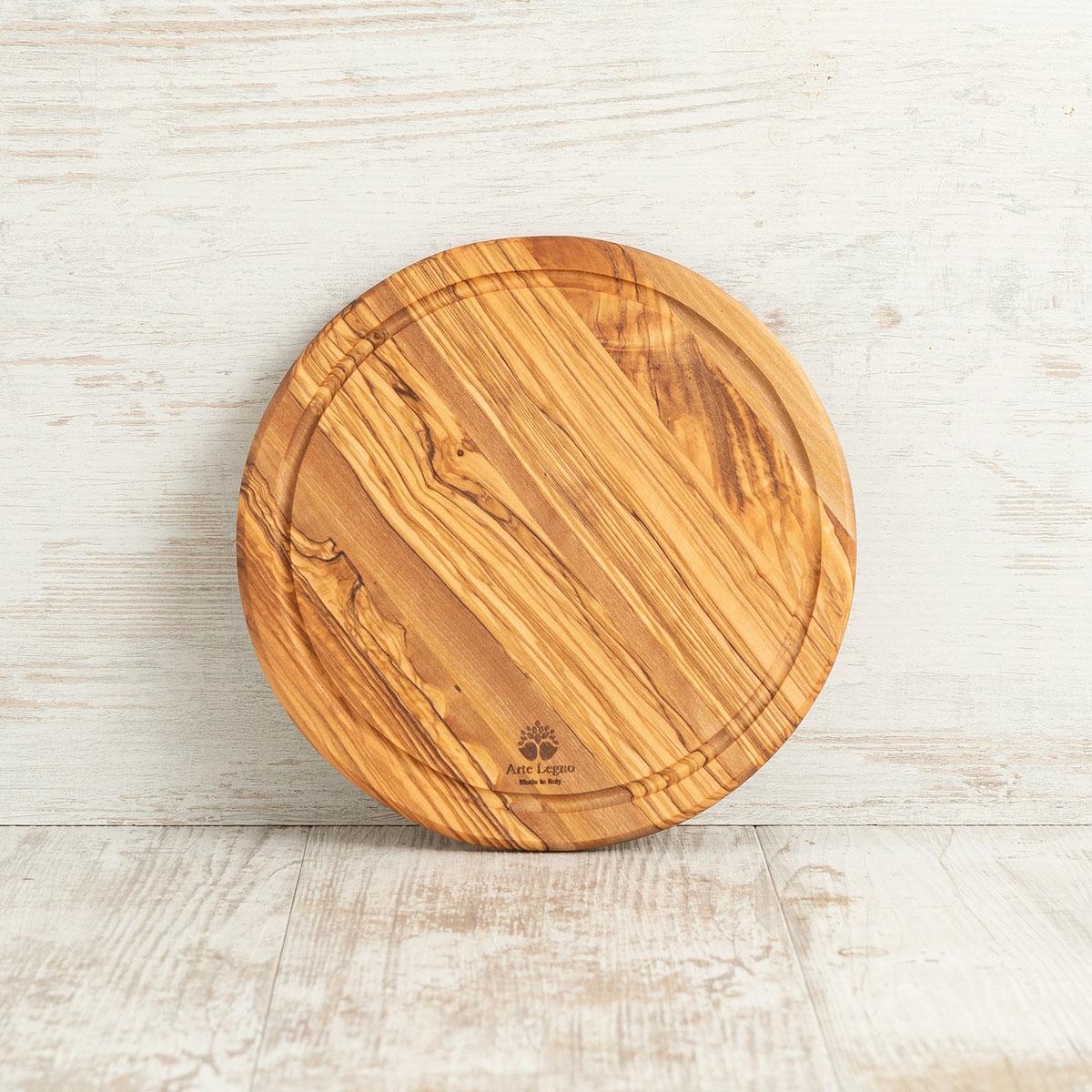 Tagliere rotondo con fresata in legno di ulivo | Arte Legno