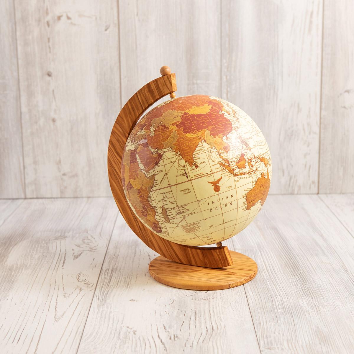 Mappamondo in legno di ulivo - Artelegno