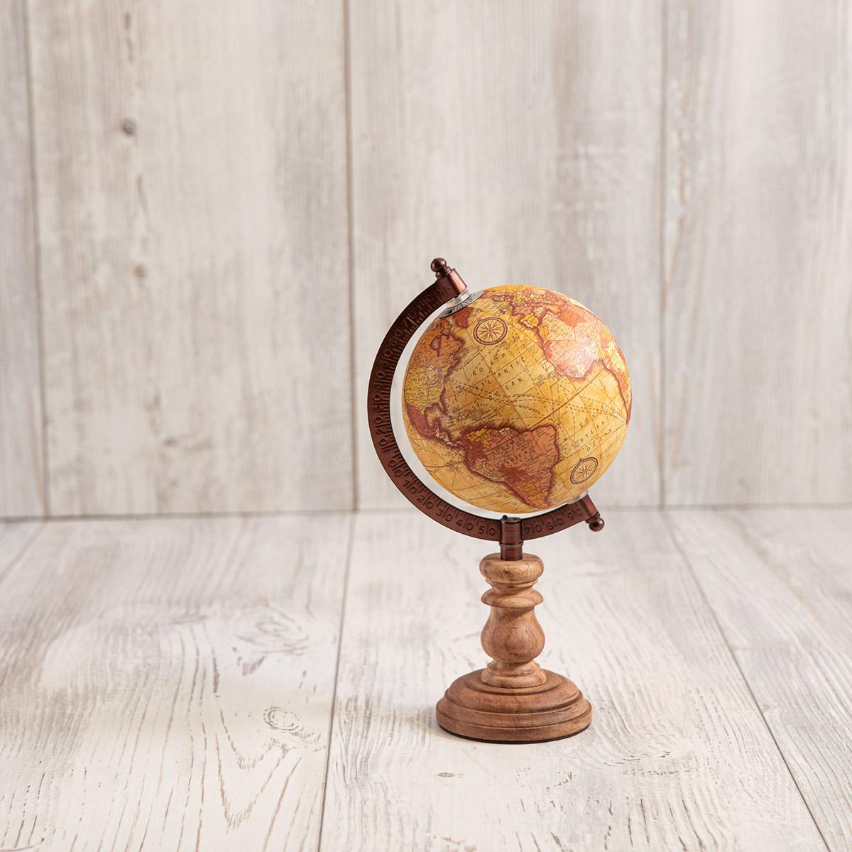 Mappamondo classico in legno di ulivo - Artelegno