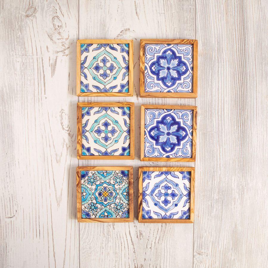 Set di 6 sottobicchieri ceramica - Artelegno
