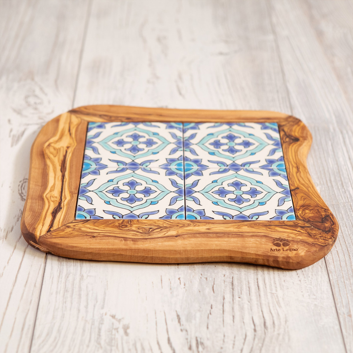 Vassoio 4 mattonelle legno e ceramica - Artelegno