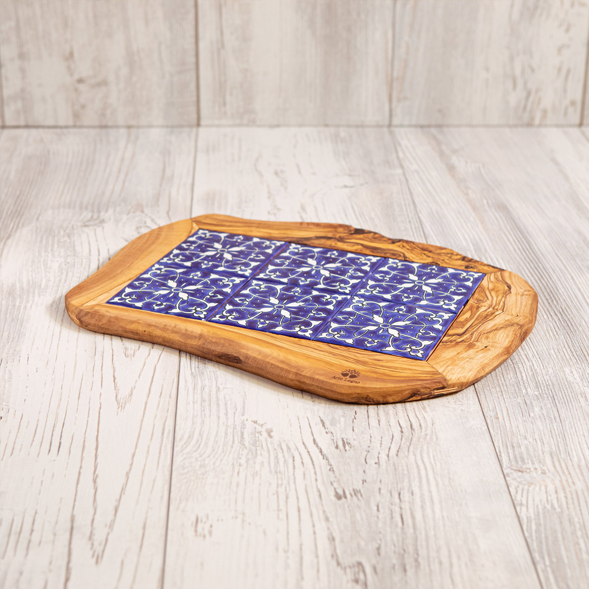 Vassoio 6 mattonelle legno e ceramica - Artelegno